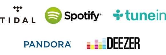 TIDAL, Spotify, Deezer, Pandora, TuneIn