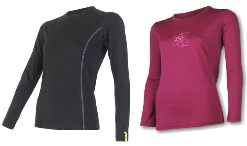 Sensor Merino Wool Active M set dámské triko dl.ruk.Černá+triko dl.ruk.Pt Orchidea Lilla XL