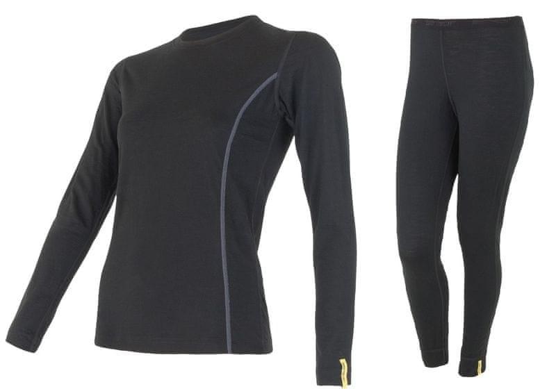 Sensor Merino Wool Active M set dámské triko dl.ruk.+spodky Černá S