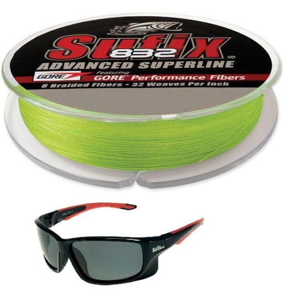 Sufix šňůra SUF 832 Braid 120 m neon lime 0,15mm, 20lb + zdarma brýle