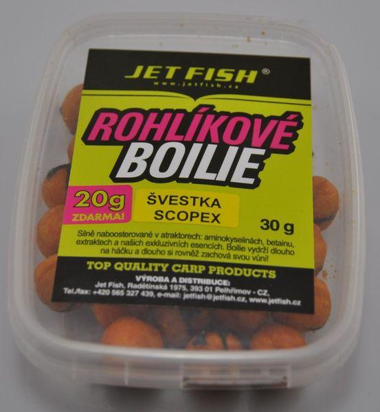 Jet Fish rohlíkové boilie 30g Mušle +20g 15mm