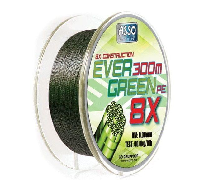 Asso Šňůra Evergreen 8-Braid Mechově Zelená 130 m 0,15 mm, 8,9 kg