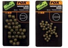 Fox Gumové korálky Tapered Bore Beads Trans Khaki
