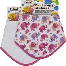 T-tomi Bambusový slintáčik ružoví slony + biely, 2ks