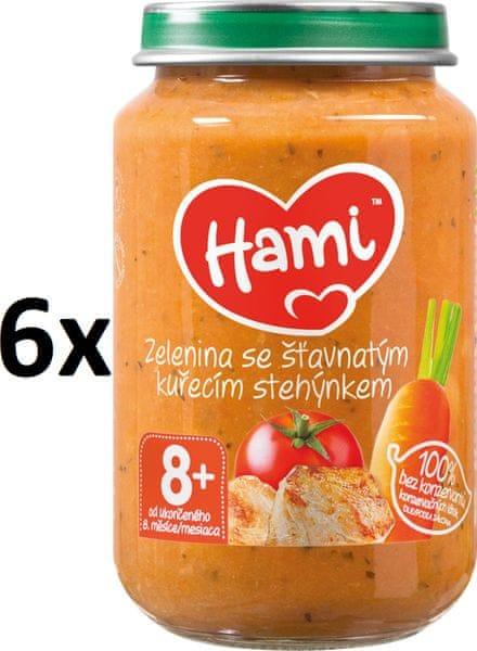 Hami Zelenina se šťavnatým kuřecím stehýnkem - 6 x 200g