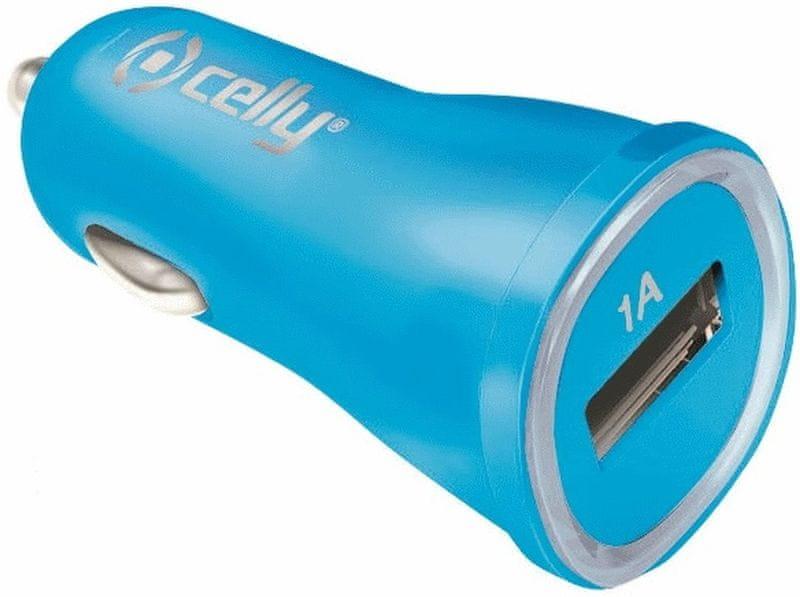 Celly autonabíječka CL, USB, 1 A, modrá