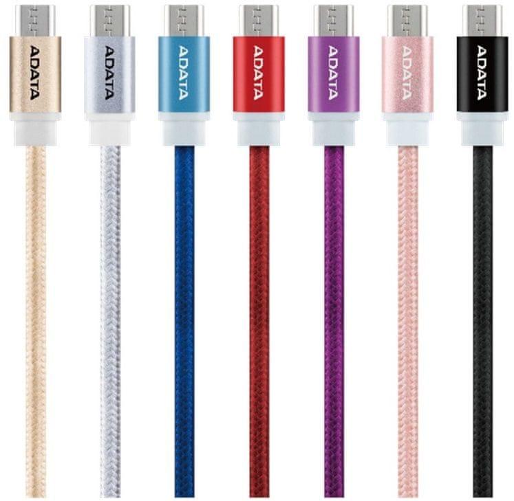 Adata kabel Micro USB, pletený, 1 m, růžový