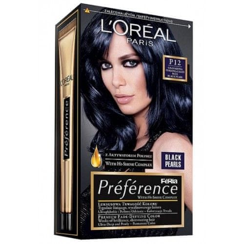 L'Oréal Barva na vlasy Préférence Black Pearls P12 Black Blue