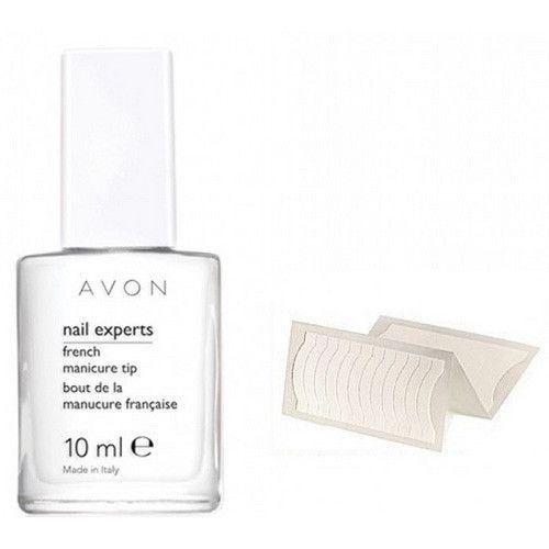 Avon Bílý lak na nehty Nail Experts 10 ml a šablony na francouzskou manikúru 36 ks