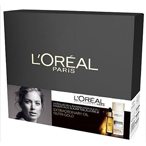 Loreal Paris Dárková sada Extraordinary Oil Nutri Gold Pleťový olej 30 ml & Vyživující olejové odličovací mléko 2
