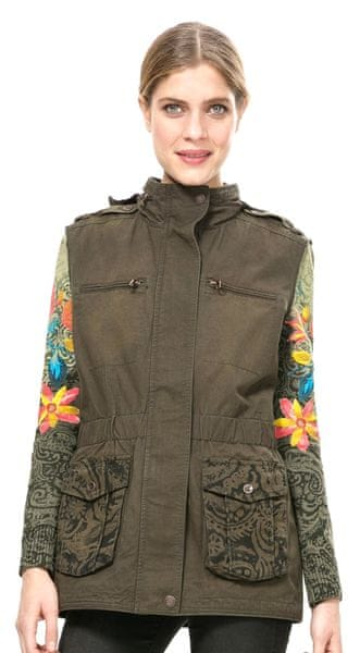 Desigual dámský kabát 36 khaki