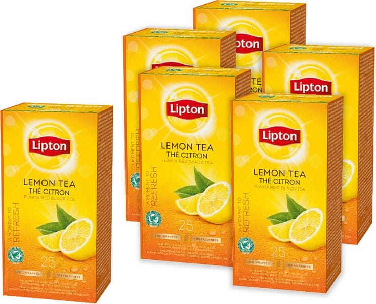 Lipton Lemon černý čaj s citrónem 6x 25 sáčků