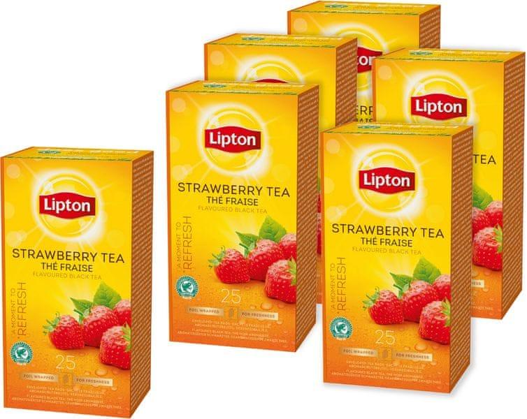 Lipton Strawberry černý čaj aromatizovaný 6x 25 sáčků