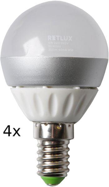 Retlux REL žárovka LED G45 4W E14 4 ks