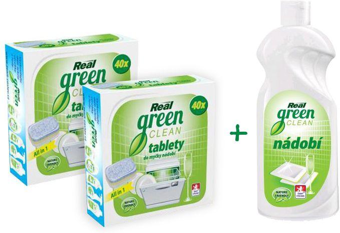 Real Green Clean tablety do myčky 2x 40 ks + Nádobí 500 ml zdarma