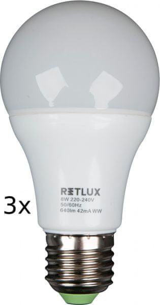 Retlux RLL žárovka LED A60 8W E27 3 ks