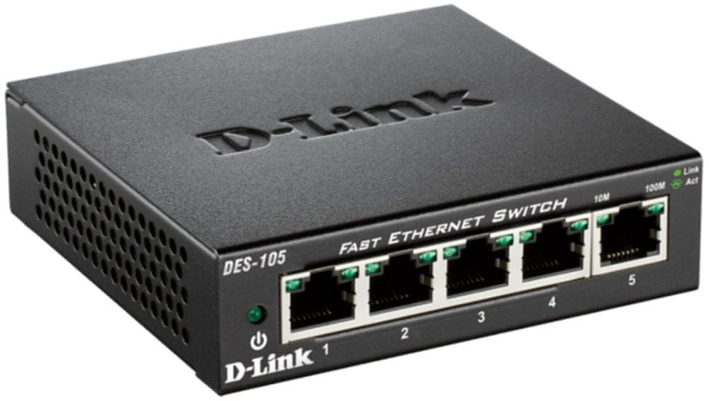 D-Link kovový 5-port 10/100 Desktop Switch (DES-105/E)