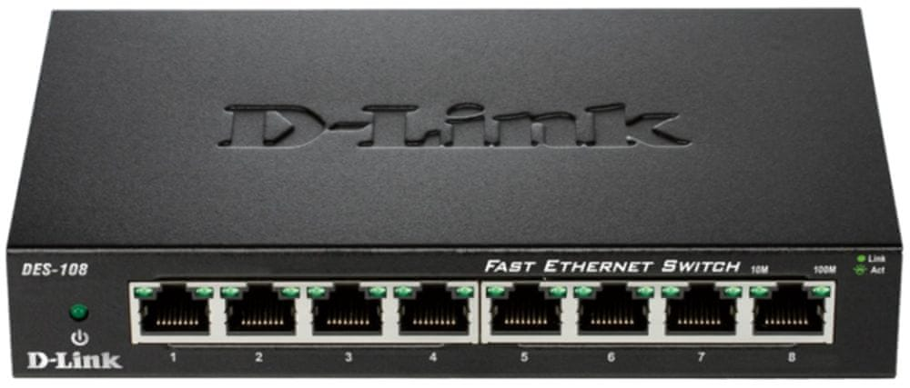 D-Link kovový 8-port 10/100 Desktop Switch (DES-108/E)