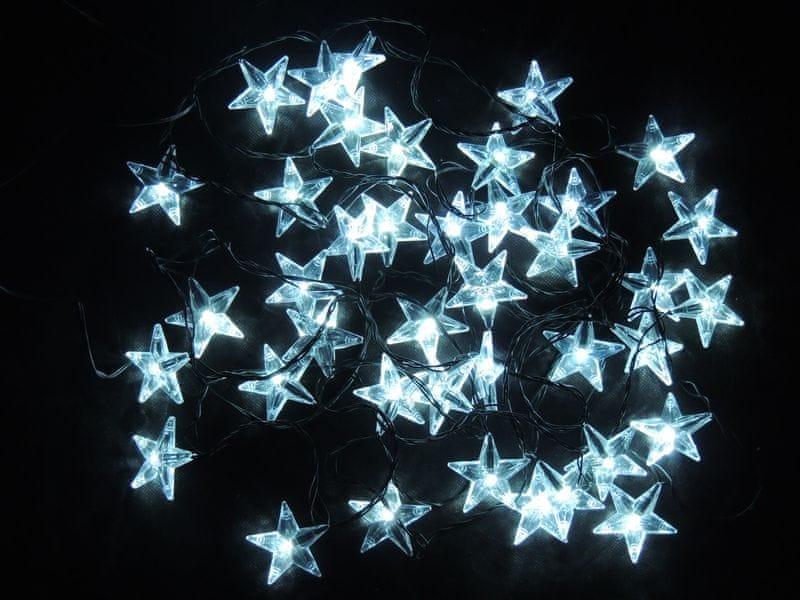 Noel Světelný LED řetěz Hvězdy studená bílá 6 m