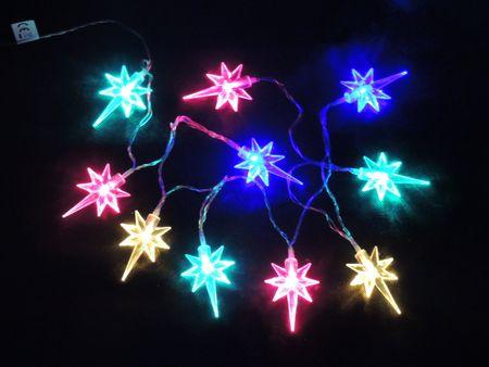 Noel LED reťaz Hviezdy na batérie multicolor