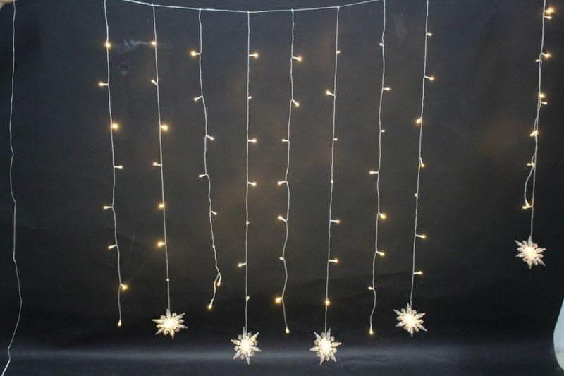 Noel Světelný závěs s vločkami 80 LED teplá bílá