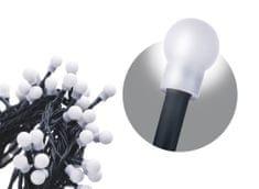 EMOS lampki świąteczne 200 diod LED - kule, 20 m, zimny biały