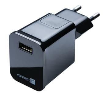 Connect IT nabíjecí adaptér, 1x USB port, 2,1 A, černý