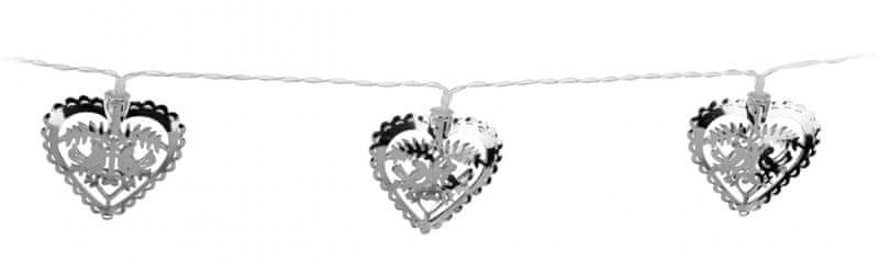 Metalac Svítící řetěz Srdce 10 LED stříbrný