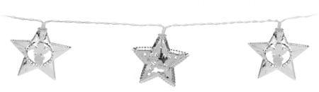 Metalac svetleča veriga Zvezde, 10 LED, srebrna