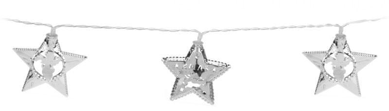 Metalac Svítící řetěz Hvězda 10 LED stříbrný