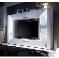 TV a media stena, DTD laminovaná, MDF s extra vysokým leskom, biela, EDGE