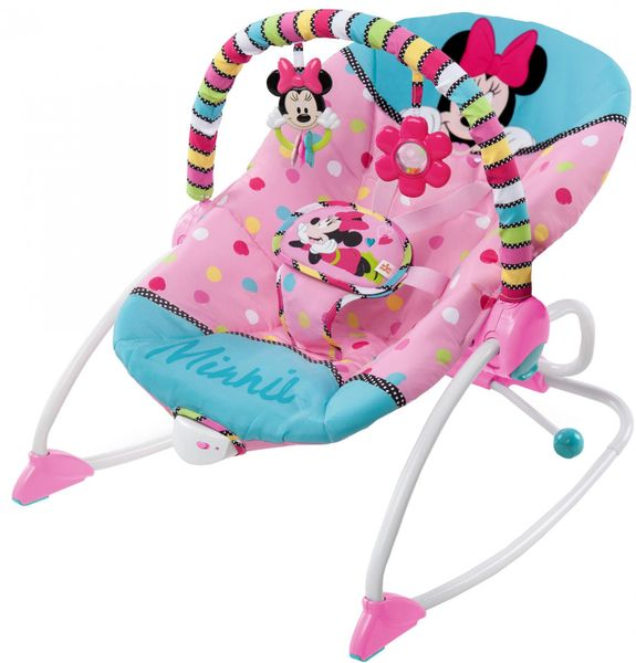 Bright Starts Houpátko vibrující Minnie Mouse PeekABoo Rocker, 0m+, do 18kg