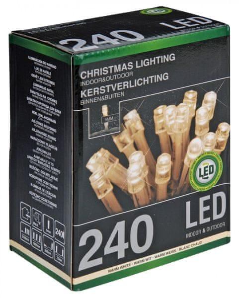 Metalac Průhledný řetěz 240 LED teplá bílá - II. jakost