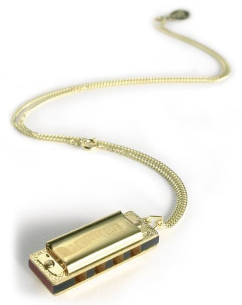 Hohner Little Lady, gold plated with necklace Miniatura foukací harmoniky