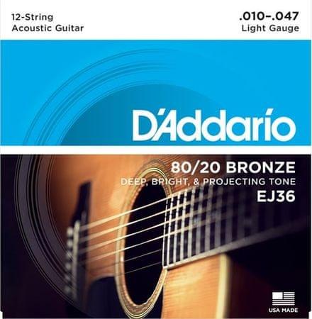 Daddario EJ36 Struny pro dvanáctistrunnou kytaru