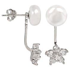 JwL Jewellery Stříbrné dvojnáušnice s pravou bílou perlou a zirkonovou kytičkou JL0281 stříbro 925/1000