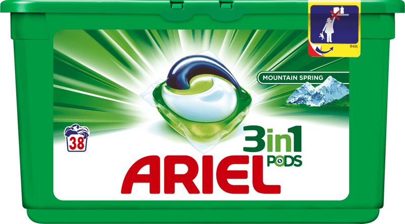 Ariel Mountain Spring 3v1 gelové kapsle na praní 38 ks