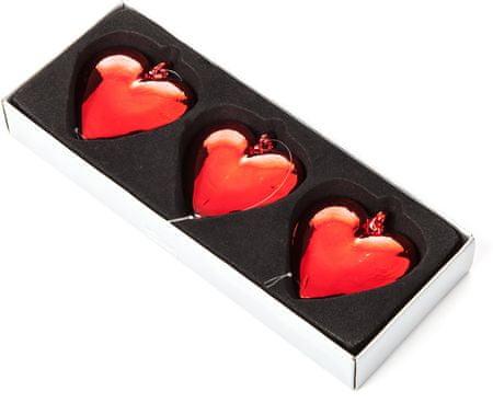 Decorium Set 3ks Ozdoba srdce závěsné červené