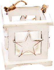 Decorium Drevená lucerna s hviezdou biela