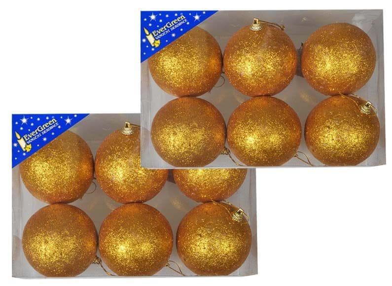 EverGreen Koule glitter 2x 6 ks zlatá