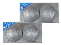 EverGreen Koule glitter 2x 2 ks stříbrná