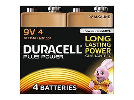 Duracell alkalne baterije Plus Power MN1604B4 PP3 9V, 4 kosi