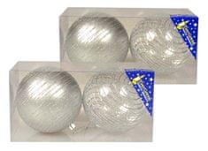 EverGreen božične bunkice s črtami iz bleščic, srebrne, 10 cm, 4 kosi