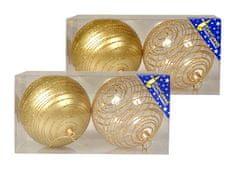 EverGreen božične bunkice s črtami iz bleščic, zlate, 10 cm, 4 kosi