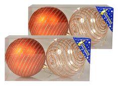 EverGreen božične bunkice s črtami iz bleščic, bakrene, 10 cm, 4 kosi