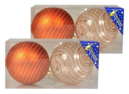 EverGreen božične kuglice s sjajnim crtama, bakrene, 10 cm , 4 komada