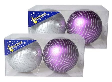 EverGreen Gömbdíszek glitter csíkokkal 2x 2 db lila