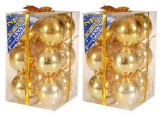 EverGreen božične bunkice, zlate, sijoče, 6 cm, 12 kos