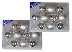 EverGreen božične bunkice, sijaj in mat, srebrna, 6 cm, 20 kos