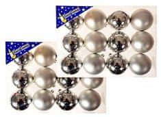 EverGreen božične bunkice, sijaj in mat, srebrne, 6 cm, 24 kos